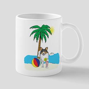 Beach Shetland Sheepdog Mug