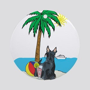 Beach Scottish Terrier Ornament (Round)