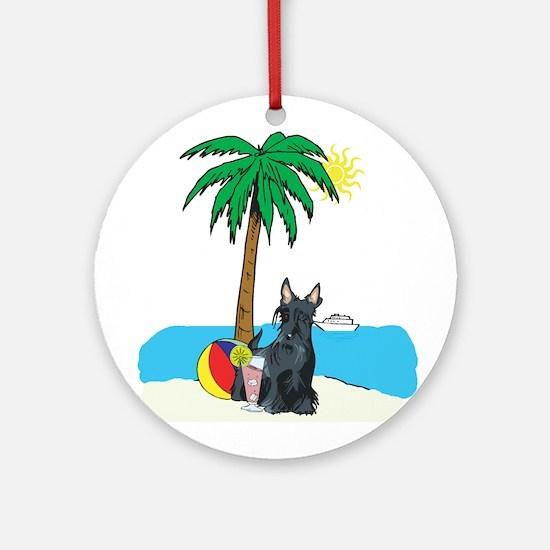 Beach Scottish Terrier Ornament (Round)