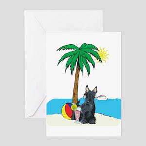Beach Scottish Terrier Greeting Card
