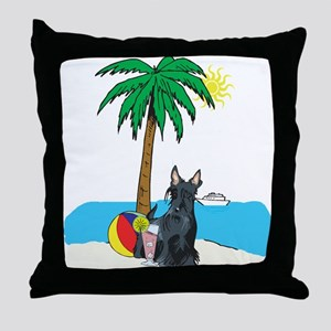 Beach Scottish Terrier Throw Pillow