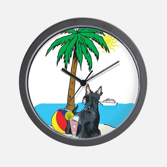 Beach Scottish Terrier Wall Clock