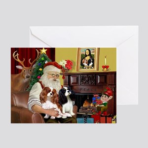 Santas Two Cavaliers Greeting Cards (Pk of 20)