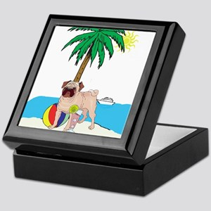 Beach Pug Keepsake Box