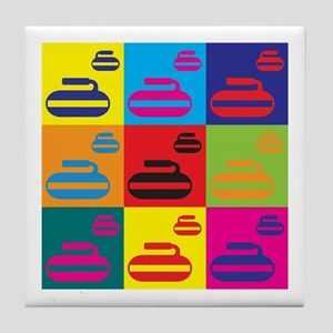Curling Pop Art Tile Coaster
