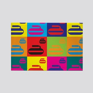 Curling Pop Art Rectangle Magnet