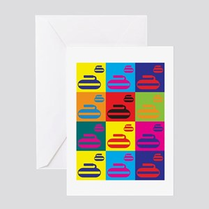 Curling Pop Art Greeting Card
