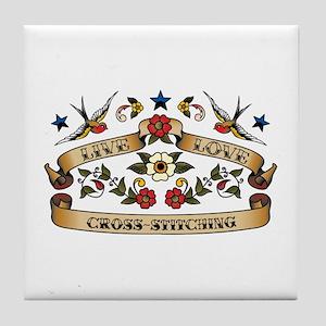 Live Love Cross-Stitching Tile Coaster