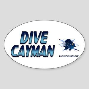 Dive Cayman (blue) Oval Sticker