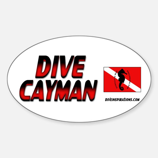 Dive Cayman (red) Oval Decal