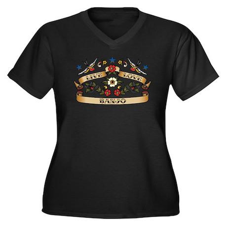 Live Love Banjo Women's Plus Size V-Neck Dark T-Sh