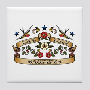 Live Love Bagpipes Tile Coaster