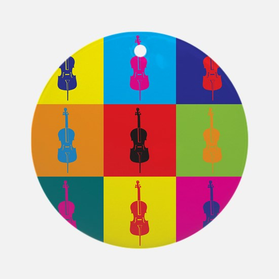 Cello Pop Art Ornament (Round)