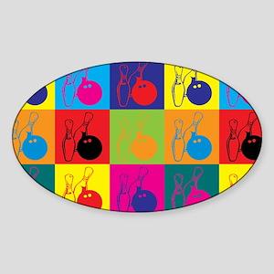 Bowling Pop Art Oval Sticker