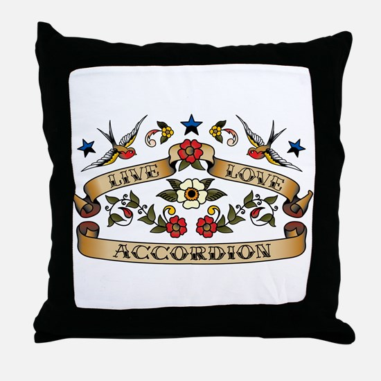 Live Love Accordion Throw Pillow