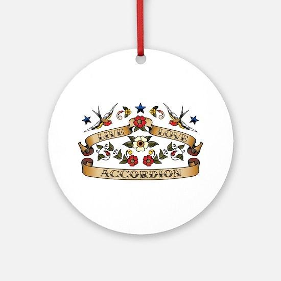 Live Love Accordion Ornament (Round)