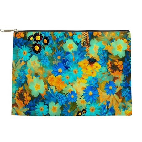 Blue and Yellow Spring Flowers Makeup Bag