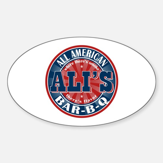 Ali's All American BBQ Oval Decal