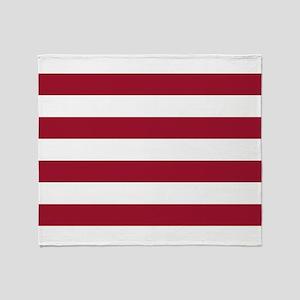 Crimson Red Horizontal Stripes Patte Throw Blanket