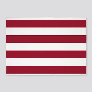 Crimson Red Horizontal Stripes Patt 5'x7'Area Rug
