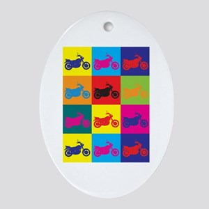 Biking Pop Art Oval Ornament