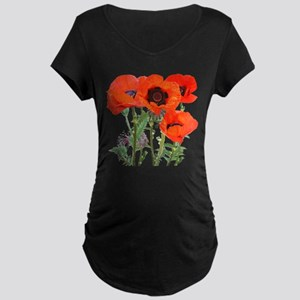 Red Poppies Maternity Dark T-Shirt