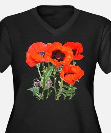Red Poppies Women's Plus Size V-Neck Dark T-Shirt