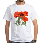 Red Poppies White T-Shirt