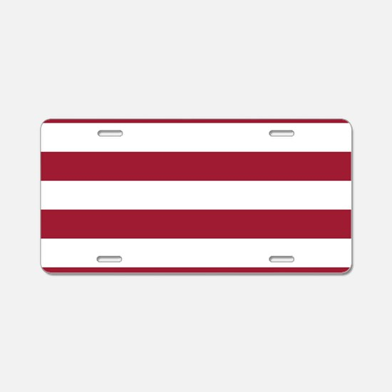 Crimson Red Horizontal Stri Aluminum License Plate