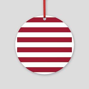 Crimson Red Horizontal Stripes Patt Round Ornament