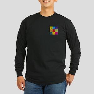 Badminton Pop Art Long Sleeve Dark T-Shirt