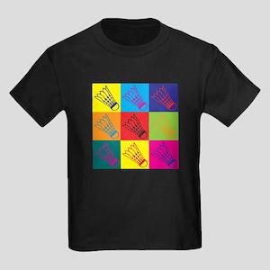 Badminton Pop Art Kids Dark T-Shirt