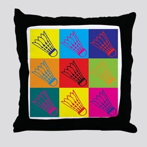 Badminton Pop Art Throw Pillow