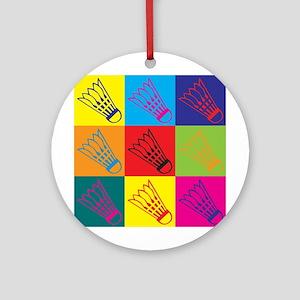 Badminton Pop Art Ornament (Round)