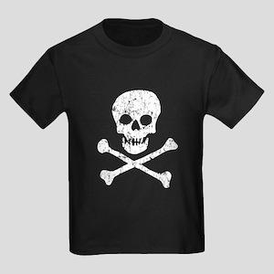 Skull & Crossbones (White) Kids Dark T-Shirt