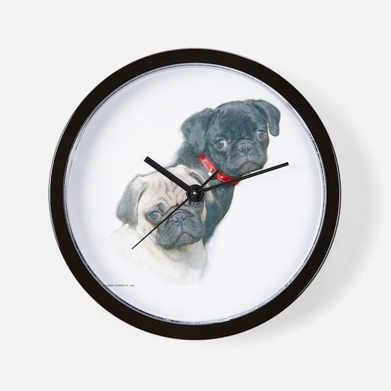 Two Pugs Wall Clock