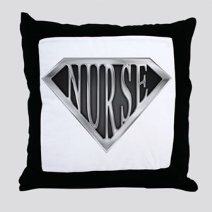 SuperNurse(metal) Throw Pillow