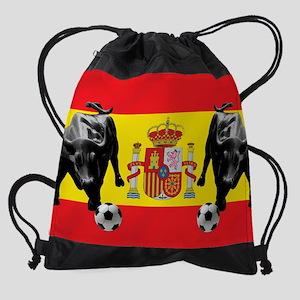 Spanish Football Bull Flag Drawstring Bag