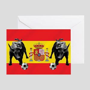 Spanish Football Bull Flag Greeting Card