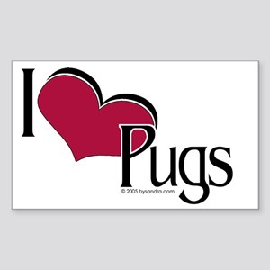 I love Pugs Rectangle Sticker