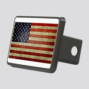 Distressed American Flag Rectangular Hitch Cover