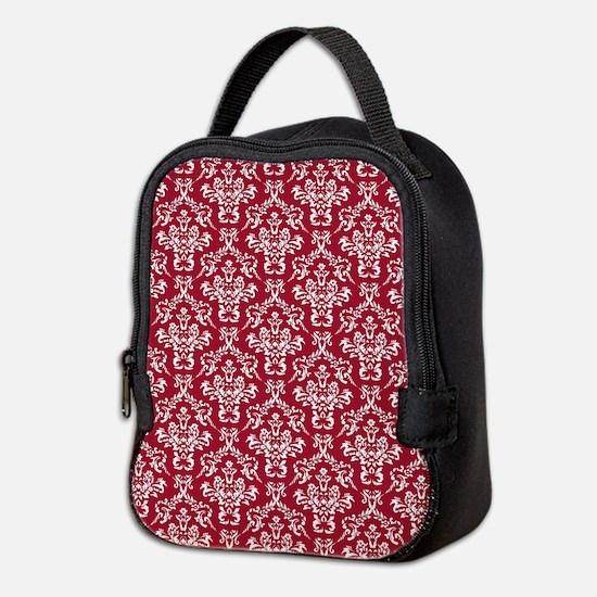 Crimson Red Damask Flourish Pat Neoprene Lunch Bag