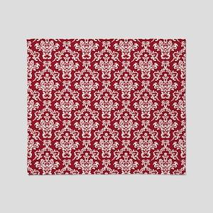 Crimson Red Damask Flourish Pattern Throw Blanket