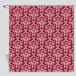 Crimson Red Damask Flourish Pattern Shower Curtain