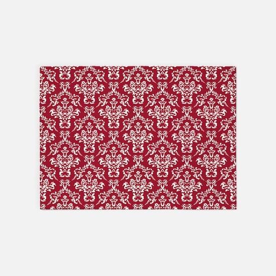 Crimson Red Damask Flourish Pattern 5'x7'Area Rug