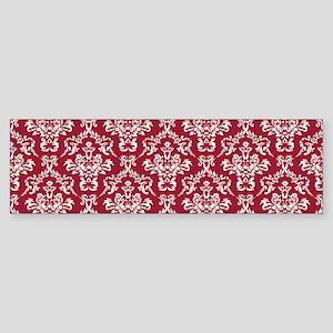 Crimson Red Damask Flourish Patte Sticker (Bumper)