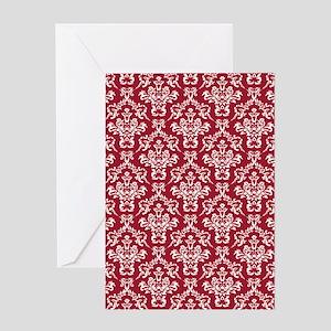 Crimson Red Damask Flourish Pattern Greeting Card
