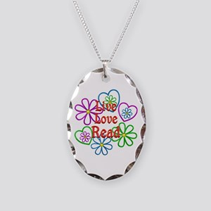 Live Love Read Necklace Oval Charm