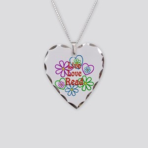 Live Love Read Necklace Heart Charm