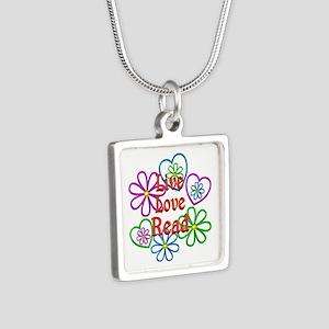 Live Love Read Silver Square Necklace